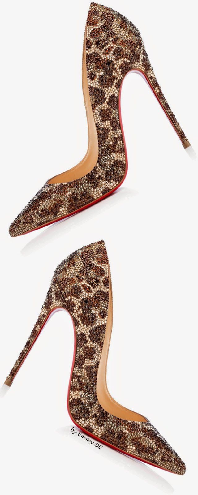 Christian Louboutin luxur swarovski crystal leopard pattern shoes. <3 @benitathediva