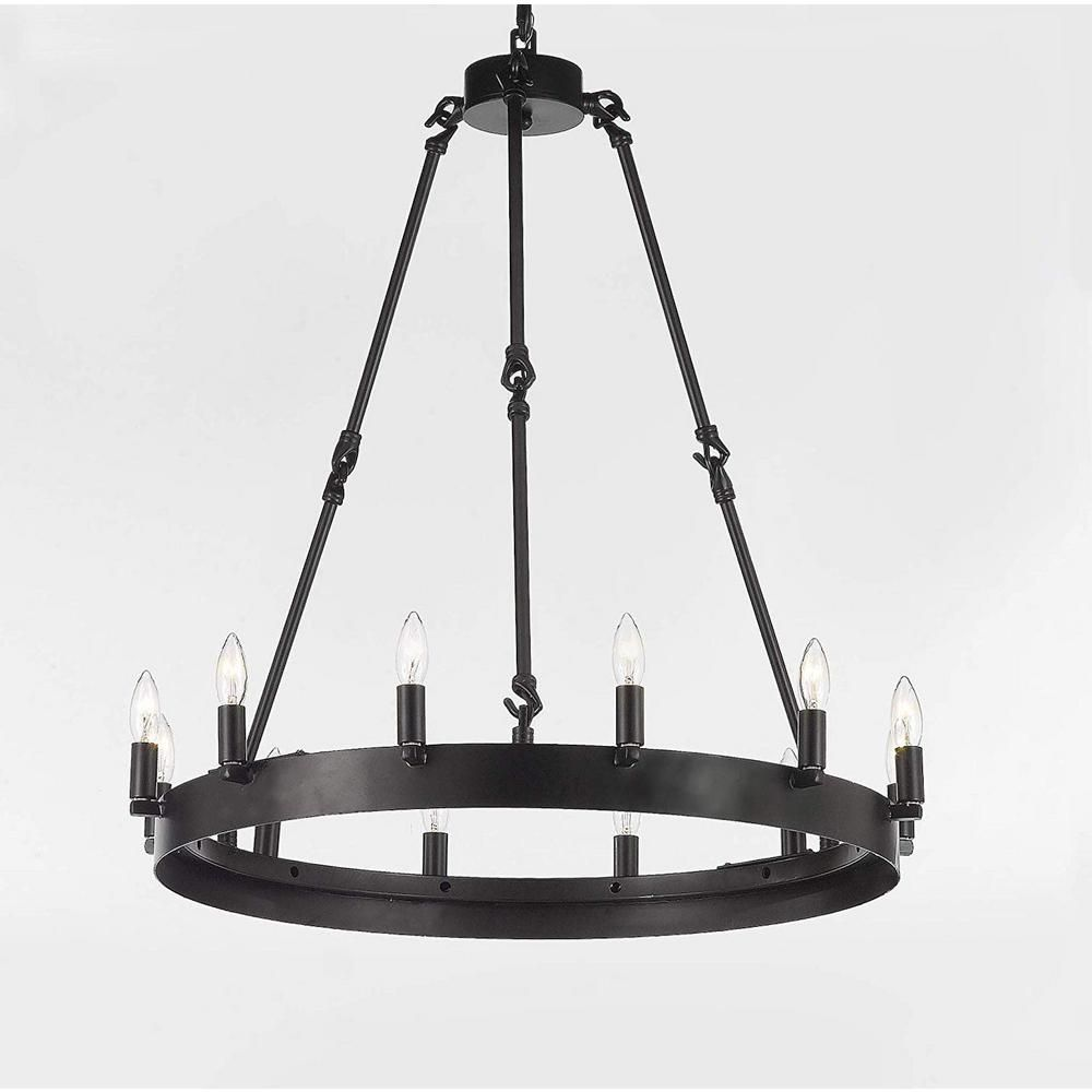Harrison Lane Vintage Barn Metal 12 Light Dark Brown Castile Industrial Rustic Chandelier T22 3077 The Home Depot Rustic Chandelier Rustic Loft Rustic Lighting