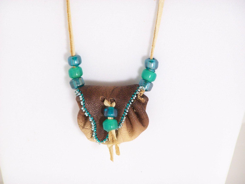 Native American Buckskin Medicine Bag With Sage Buffalo