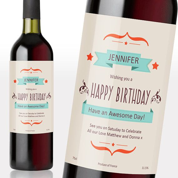 personalised vintage style birthday wine labels customize birthday