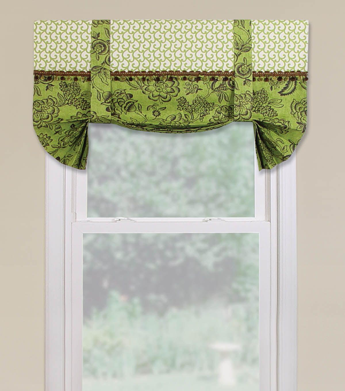 Roman shade with accent trim joannstores curtains kitchen