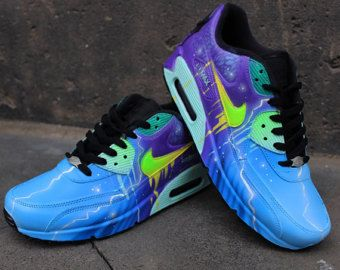 sale retailer 1fc38 0f556 Nike Air Max 90 Blue Abstract Style Painted Custom Shoes