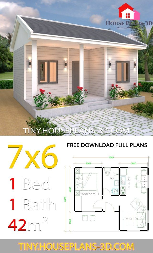 Tiny House Plans 7x6 With One Bedroom Gable Roof Tiny House Plans Small House Design Plans Small House Layout House Design Pictures