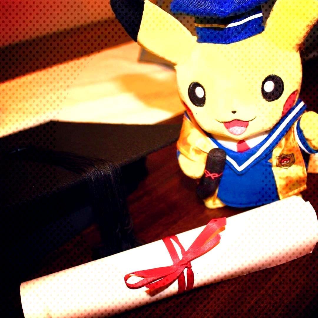 Graduation Pikachu Plush released by the Pokemon Center -