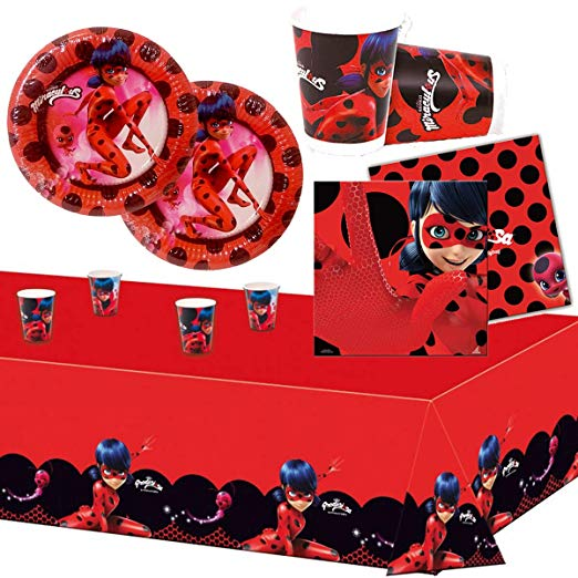 Amazon Com Party Supplies Pack Miraculous Ladybug 16 Guests Plates Cups Napkins Tablecloth Miraculous Ladybug Party Kids Party Supplies Ladybug Party Supplies