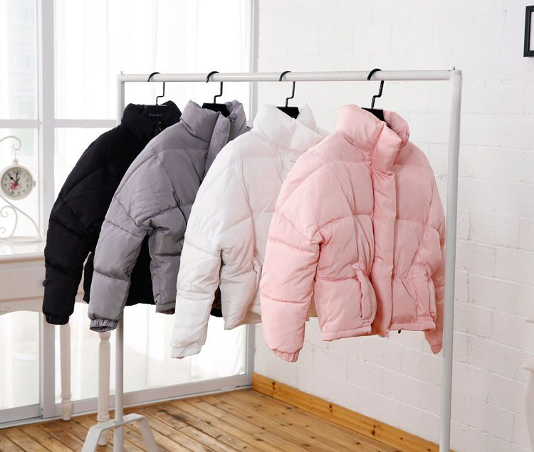 Women's oversized crop puffer padded coat/jacket urban puffa pink ...