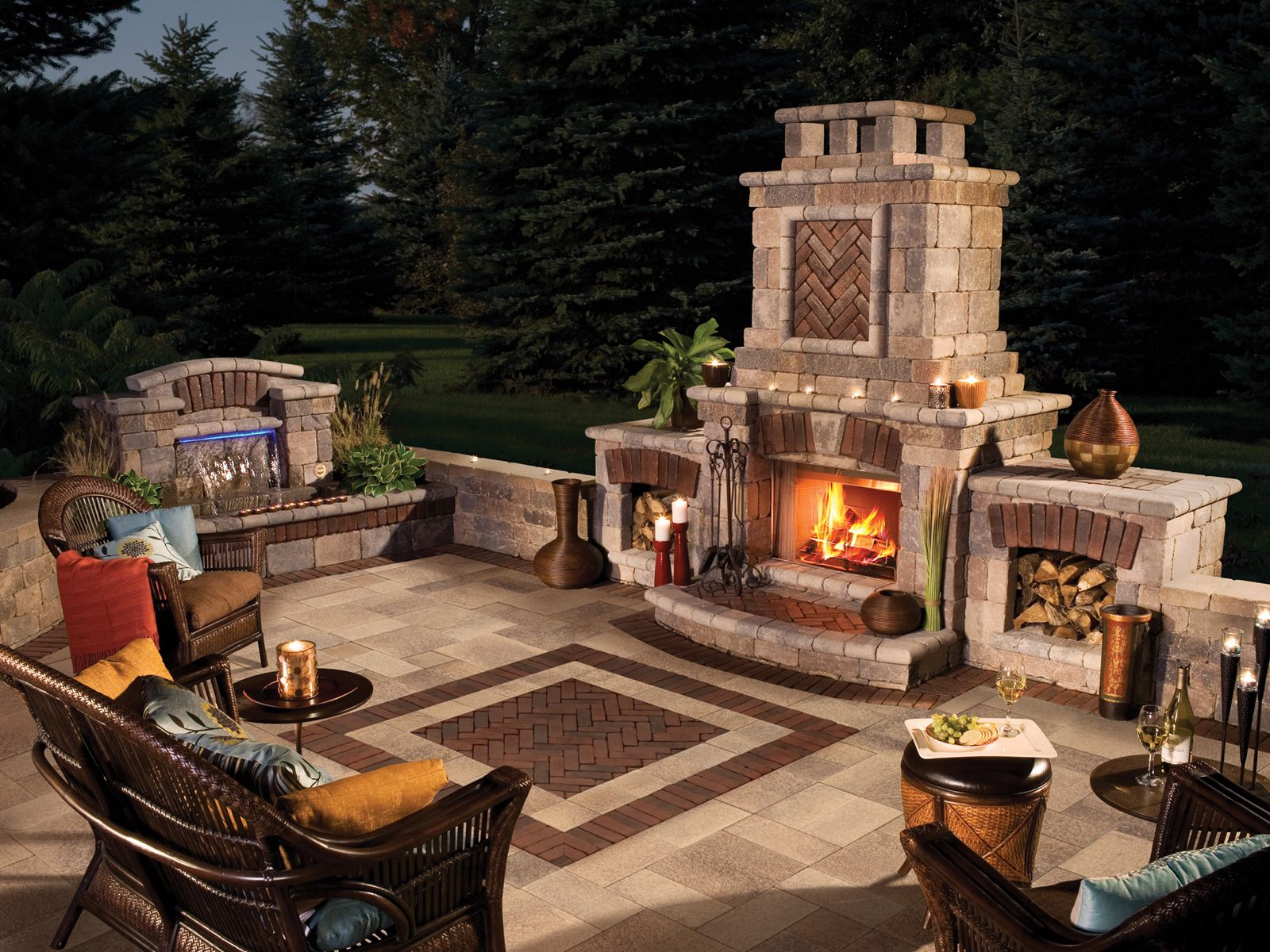 Delightful 22 Patio With Fireplace Design On Patio Ideas With