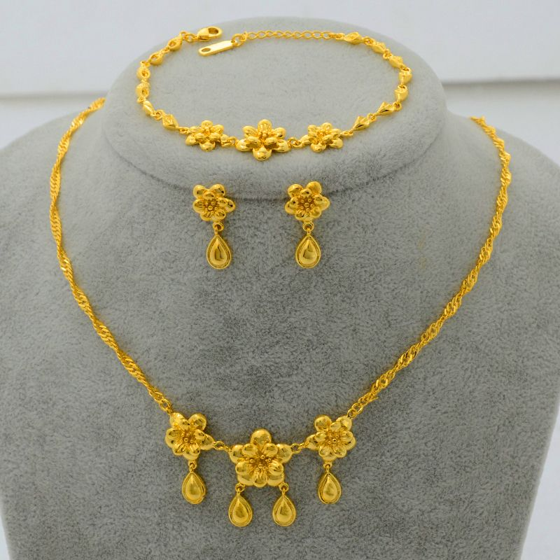 Find More Jewelry Sets Information about Fashion 22K Gold Plated Jewelry Set Flower Pendant Necklace/Earrings/Bracelet for Women Posy JewelBest Bride ... & Find More Jewelry Sets Information about Fashion 22K Gold Plated ...