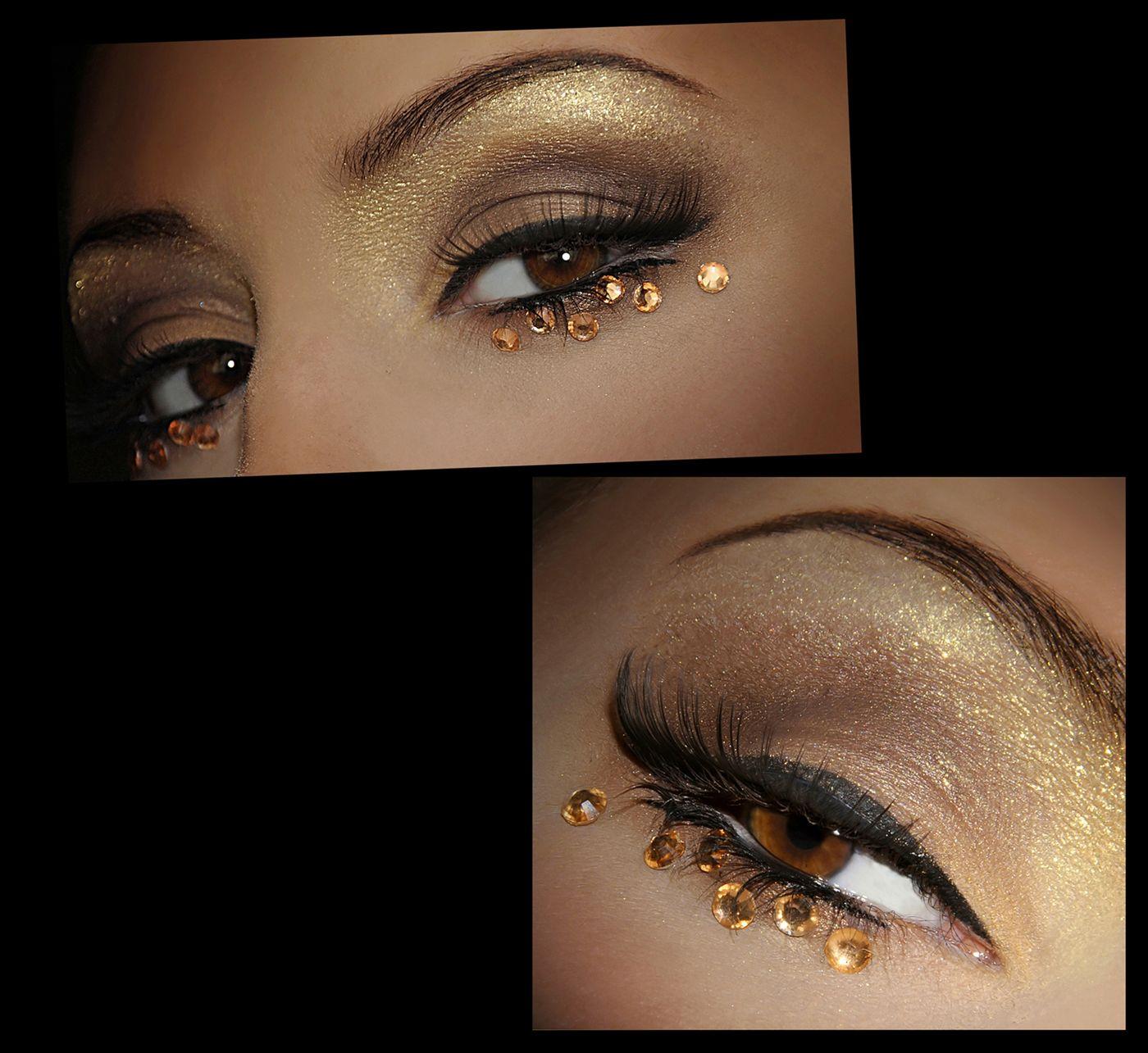 Love the eye make up....the rhinestones not so much. Eye