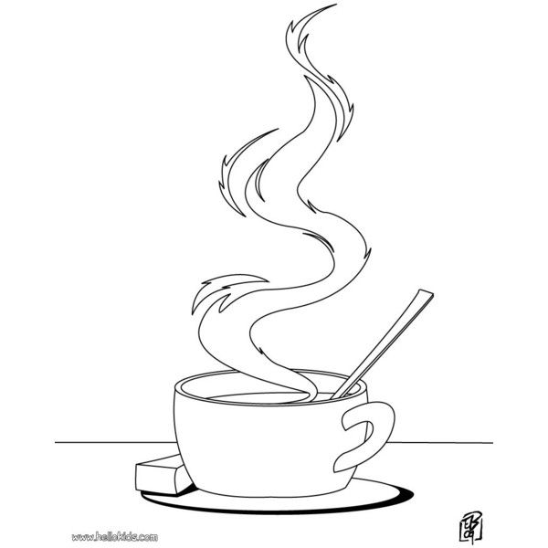 Cooking Coloring Pages Cup Of Tea Liked On Polyvore Featuring