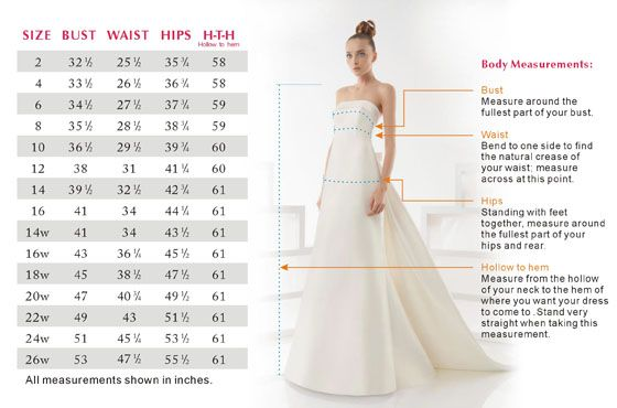 Sizing Chart for Wedding Dresses