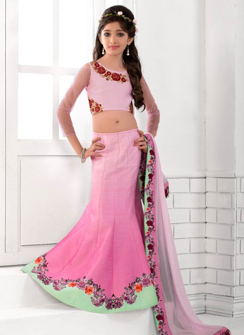 6371f68d4a5b2a Buy Pink Fish Cut Kids Lehenga Choli online, SKU Code: KDSJSSB202. This Pink  color girls lehenga for Kids comes with Printed Art Silk. Shop Now!