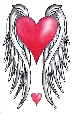 Red Heart w/ Wings | Wings drawing, Heart with wings ...