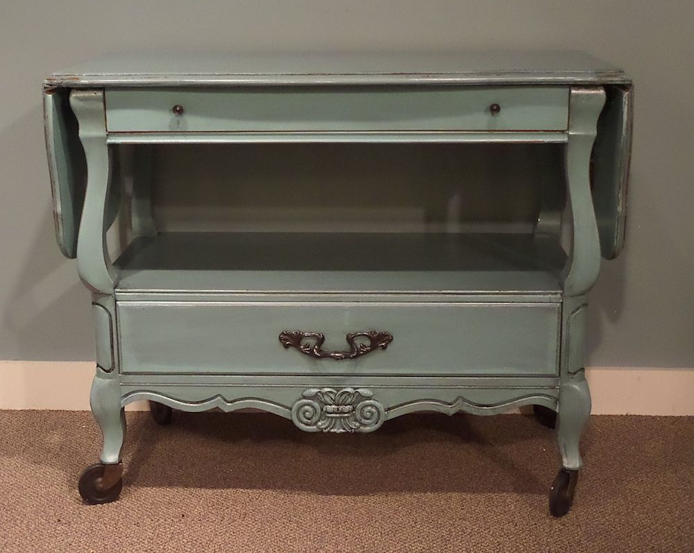 Vintage Server Tea Cart On Wheels Cherry Drop Leaf Sides 2 Drawers 1 Shelf Hand Painted In Dynasty Blue Distressed And Sealed With A Non Toxic