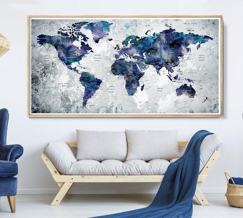 World Map Print Navy Blue World Map Watercolor Poster Decor