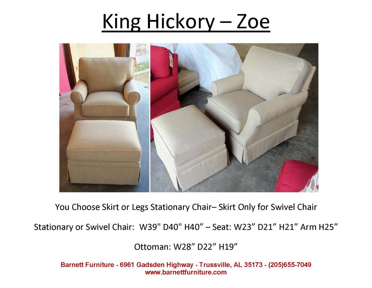 Genial King Hickory Zoe   Swivel Or Stationary. You Choose The Fabric