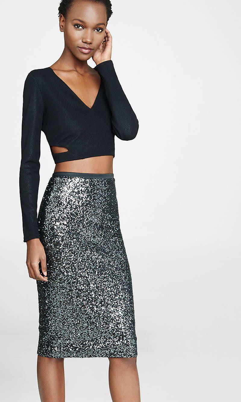 452810db211205 Womens Black Long Sleeve Crop Top & Sequin Skirt | Fashion Inspiration
