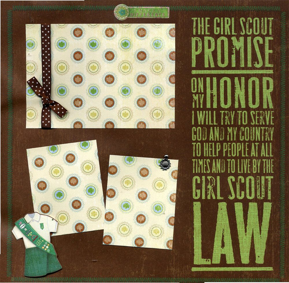 Girl scout scrapbook ideas - The Girl Scout Promise 12x12 Premade Scrapbook Page