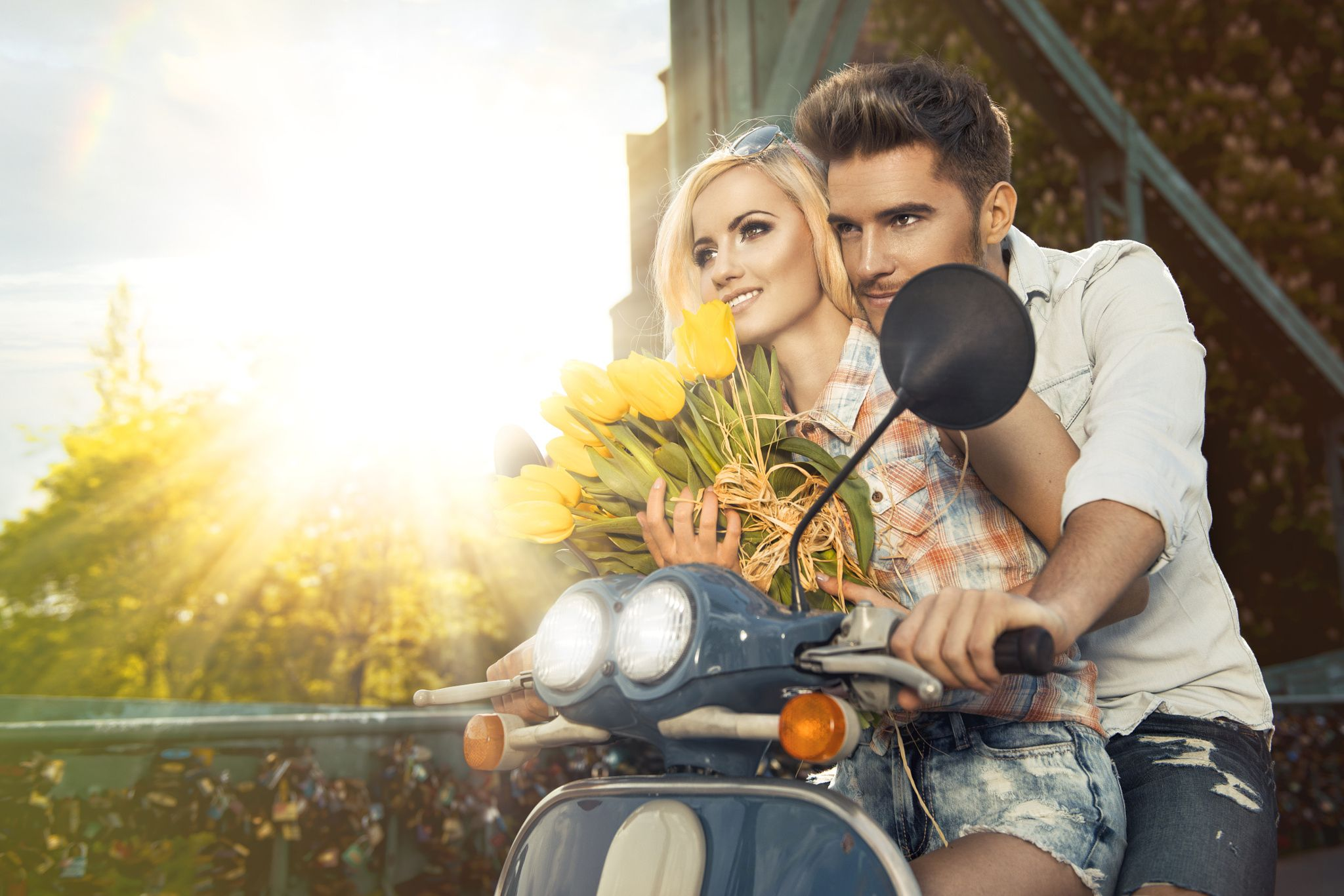 Happy free freedom couple driving scooter on summer date by artur k on 500px
