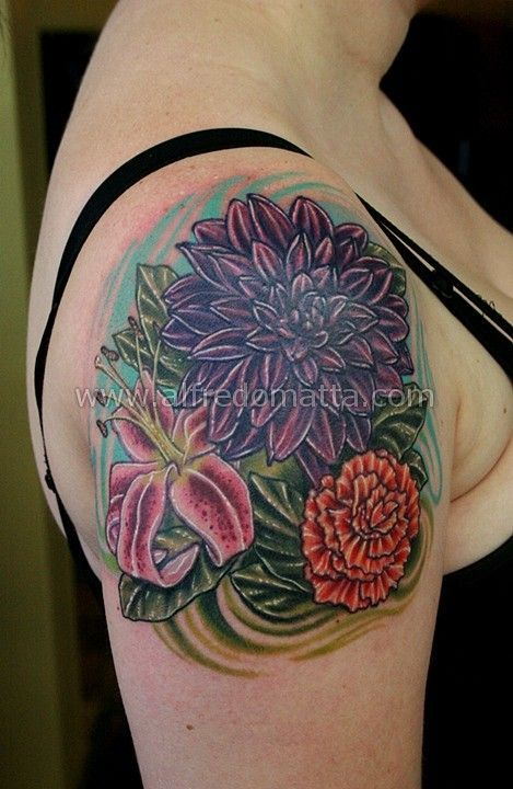 Dahlia Lily And Carnation Tattoo Tattoos Pinterest Carnation Tattoo Tattoos Birth Flower Tattoos