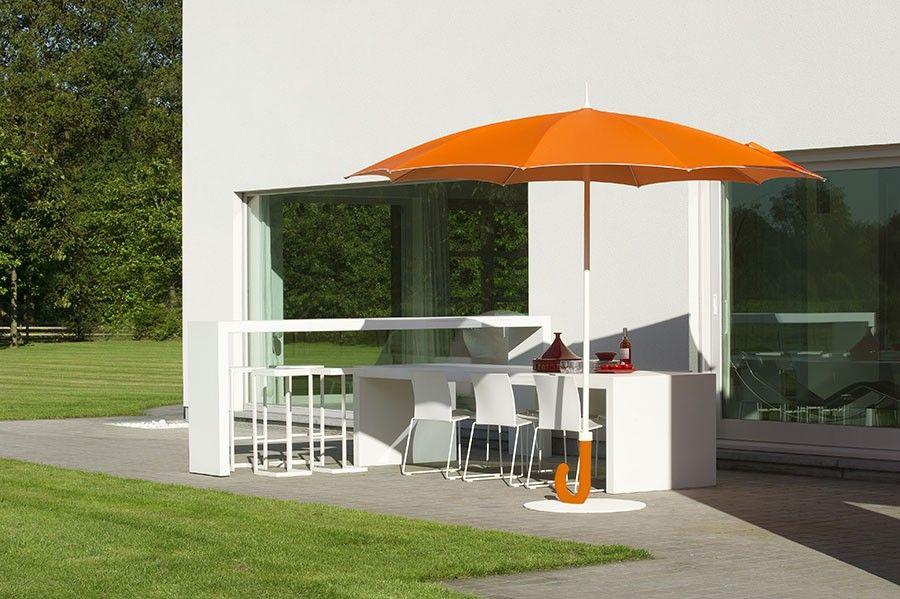 Parasol droit forme parapluie rond blanc noir ou orange MIDINA