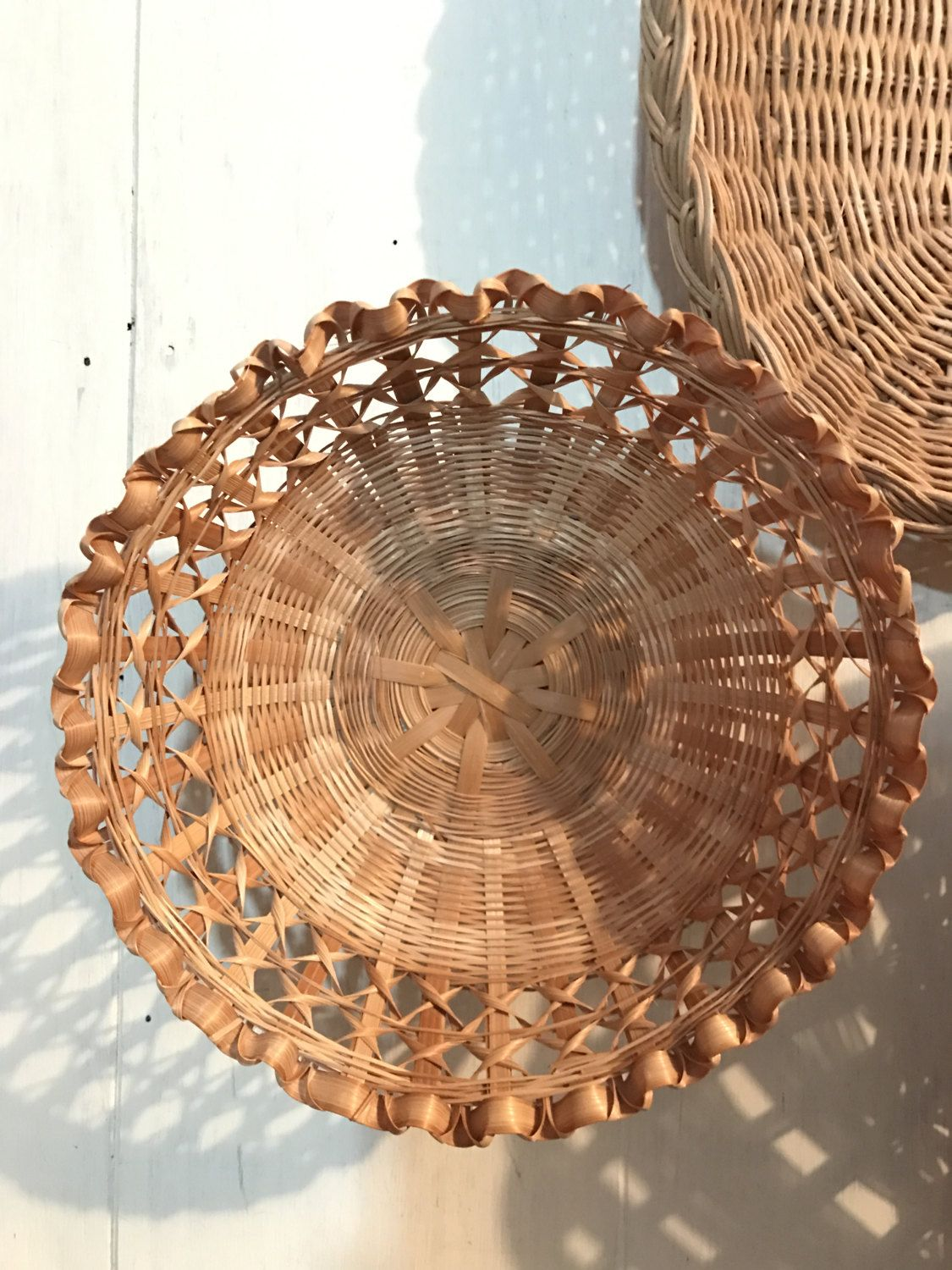 Wall Baskets Decor woven rattan basket - small round wall basket - boho wall decor