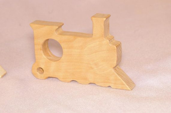 Wood Baby Toy  Train Teething Toy Eco Friendly by babyrooz on Etsy, $10.50