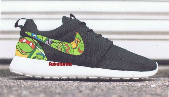 Custom Black Nike Roshe Run- Pink White Roses White Floral Nike Roshe Runs  - Women/ Men Kids