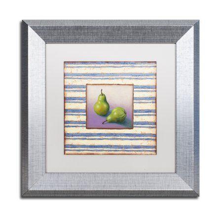 Trademark Fine Art \'Pears and Stripes\' Silver Framed Art by Rachel ...