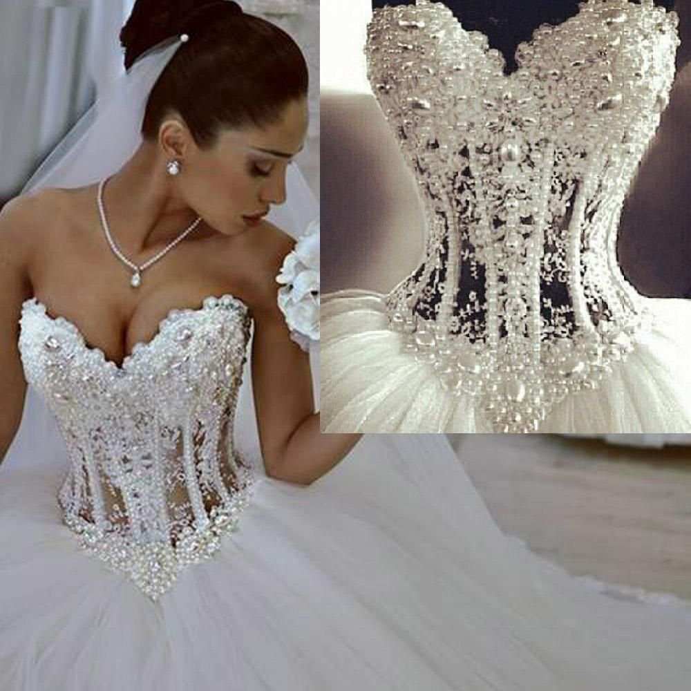 wonderful pearls corset lace ball gown wedding dresses white 2016 sweetheart lace bridal dress beads custom