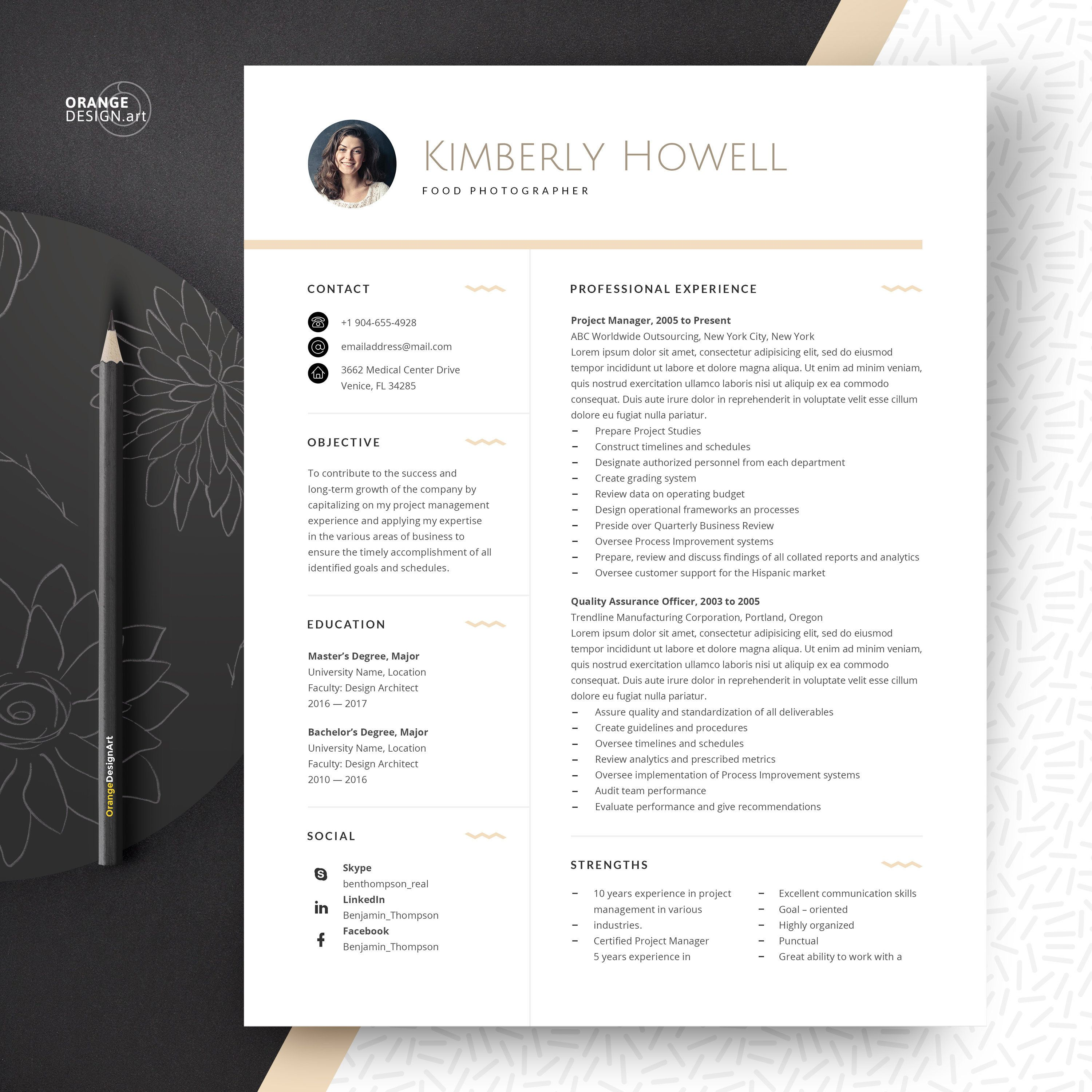 Photographer Resume Template With Photo Minimalist Template Word