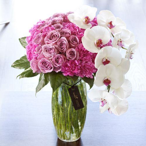 Lux Rose And Phalaenopsis Vase Tablescape Centerpiece Www Tablescapesbydesign Com Https Www Fac Luxury Flowers Flower Arrangements Fresh Flowers Arrangements