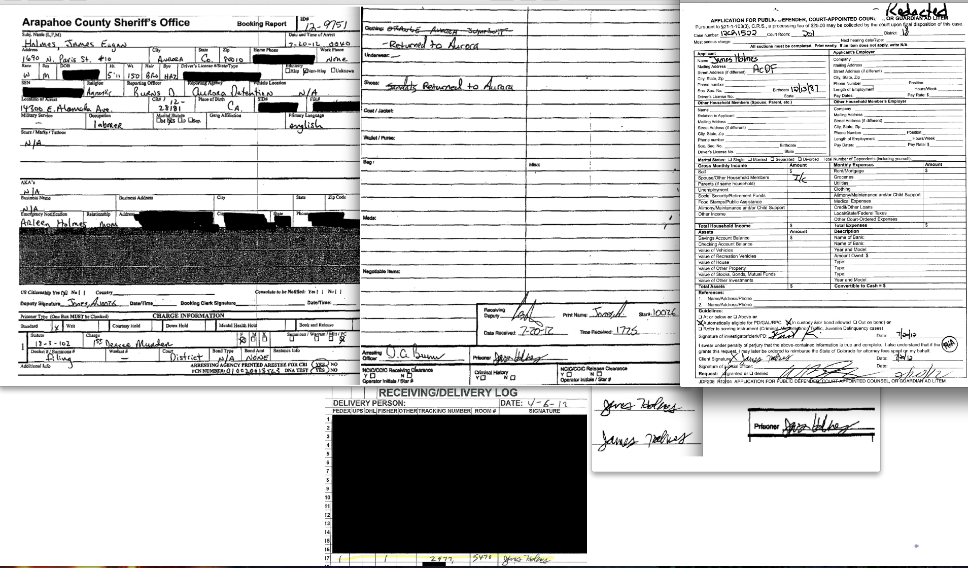 James holmes signatures booking report application for public james holmes signatures booking report application for public defender colorado university delivery log xflitez Gallery