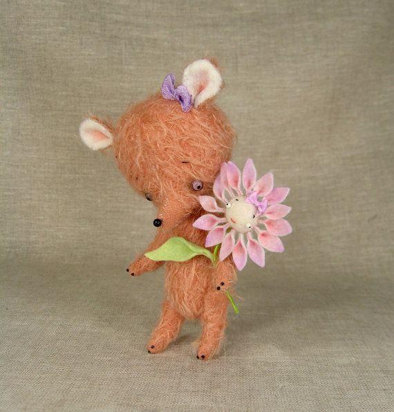 Cordelia the Snout Bear Mohair Teddy Bear with Flower от violetpi