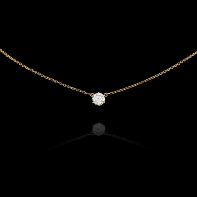 Yellow Gold Chain Ornated With One Diamond 1 12 Carat Jewels Expertissim Diamond Pendant Diamond Pendant Necklace Diamond Necklace