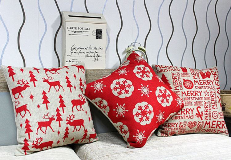 Free shipping 3 pcs lot christmas pillows cover decorate for a sofa linen cushion · christmas printchristmas homemerry