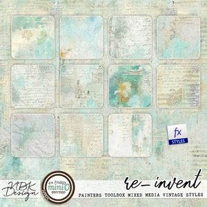 re-invent {Painterstoolbox – Mixed Media Vintage Papers Styles}vintage digital papers with shabby look from NBK Design