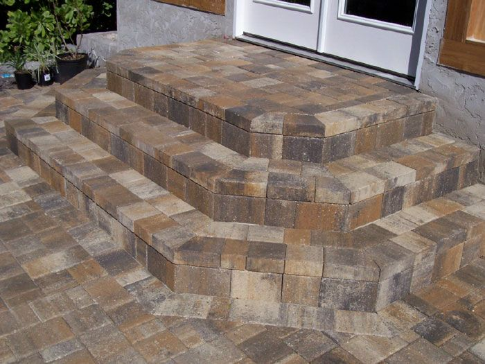 Brick steps patio stairs paver steps patio steps for Brick steps design ideas
