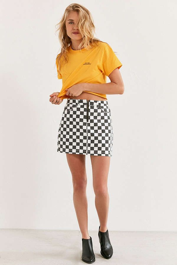 73aa18a7e BDG Checkered Denim Zip Mini Skirt in 2019 | Ella's style | Mini ...