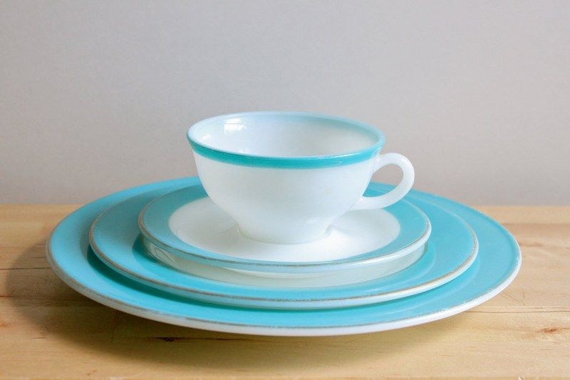 Vintage Pyrex Milkglass Plate Saucer u0026 Teacup Dinnerware Place Setting from Kitchen Culinaria & Turquoise Pyrex Dishes - Vintage 1950s Milkglass Plate Saucer ...