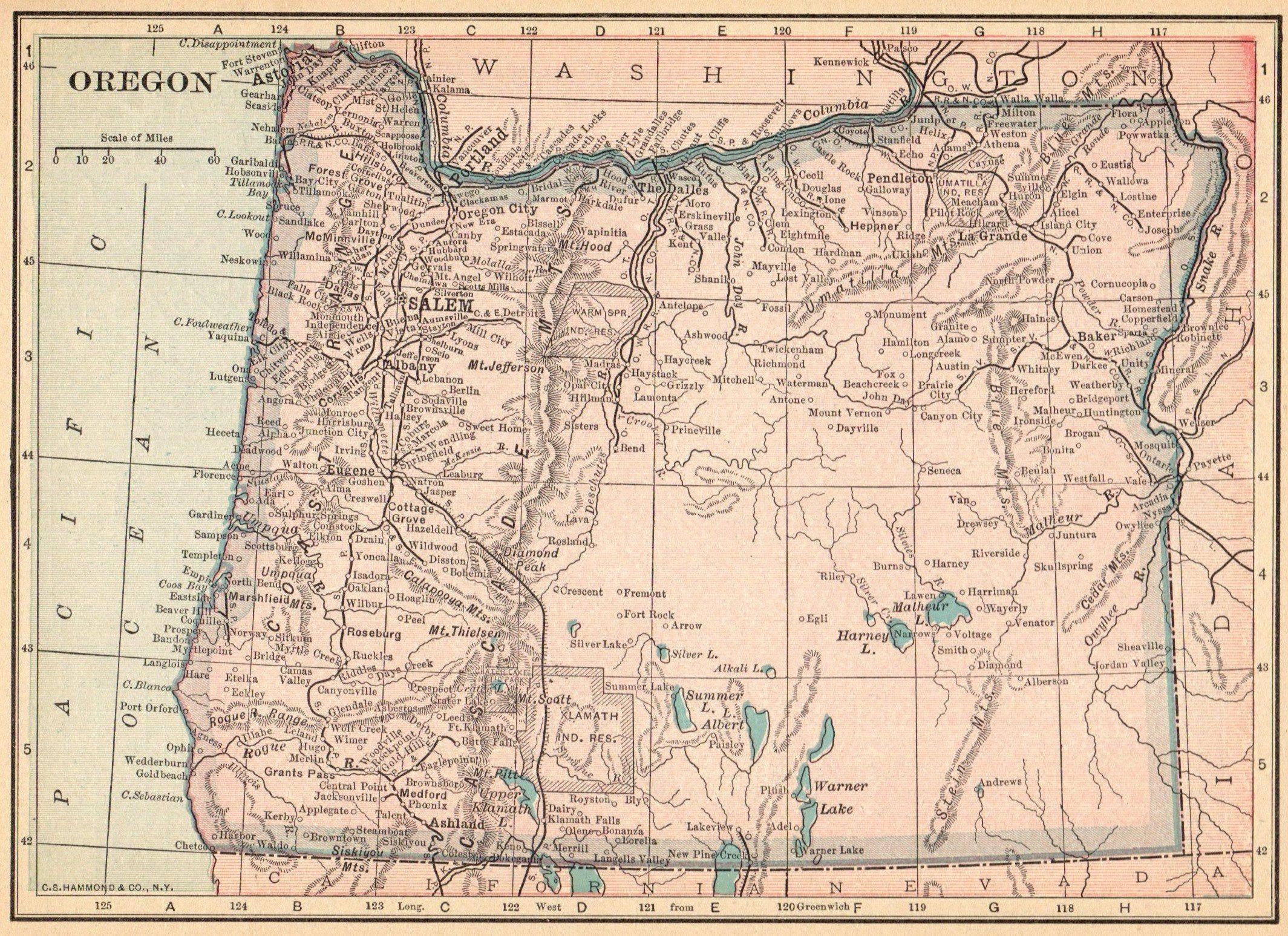 Vintage Oregon Map.1915 Antique Oregon State Map Vintage Map Of Oregon Gallery Wall Art