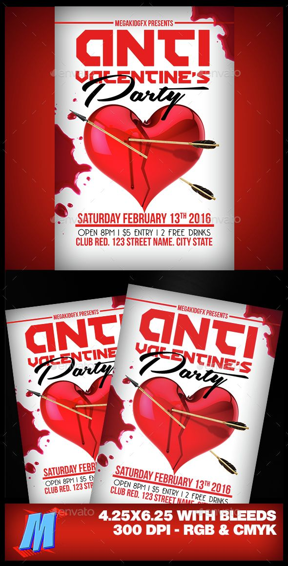 Anti Valentines Party Flyer Template Pinterest Flyer Template
