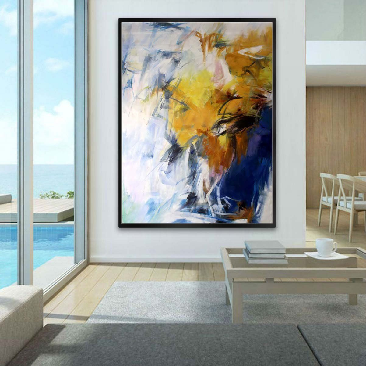 Vertical abstract wall art hand painted oil painting on canvas art