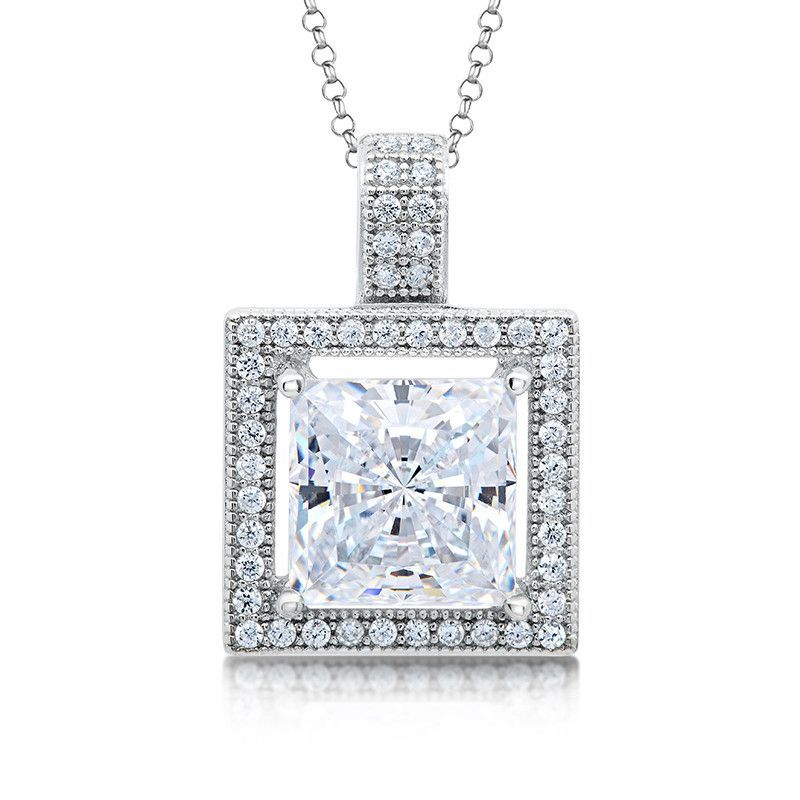 2.00 Ct Round Cut Simulated Diamond Halo Pendant With Chain .925 Sterling Silver