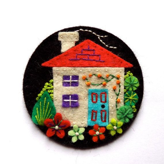 Home Felt Brooch Pin With Freeform Embroidery Scandinavian Style
