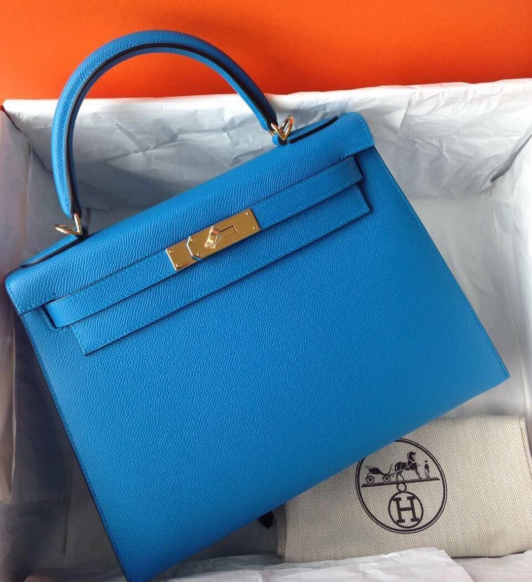 1d426fc26b8f Hermes Kelly28 Blue Zanzibar Epsom Sellier Ghw A