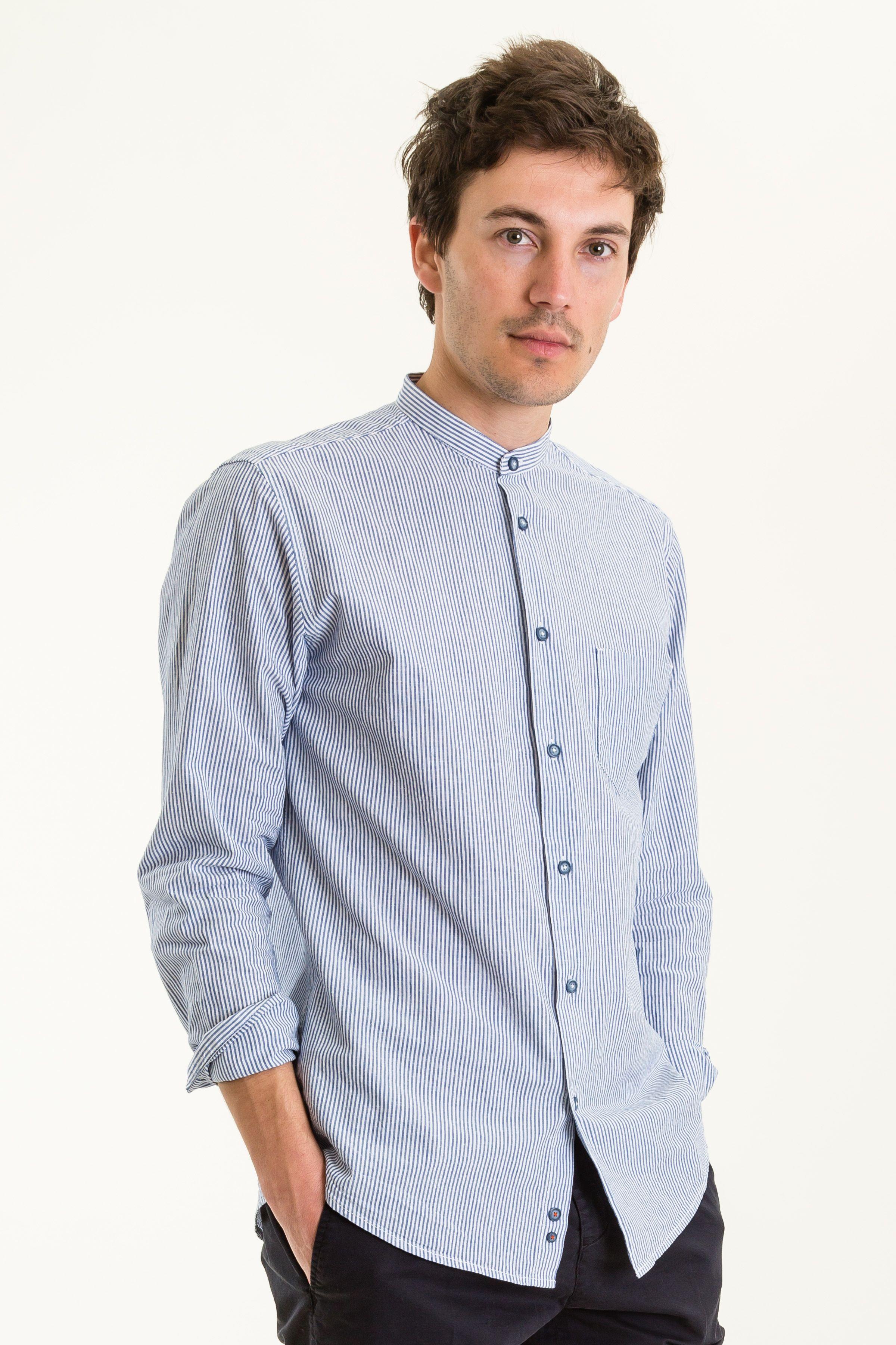 Slim Fit Hemd blau weiß gestreift Hemden BEKLEIDUNG