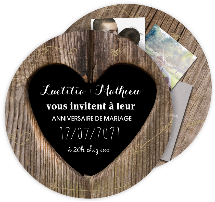 Invitation anniversaire de mariage original pour vos noces de bois ref n32168 invitation - Idee cadeau noce de bois ...