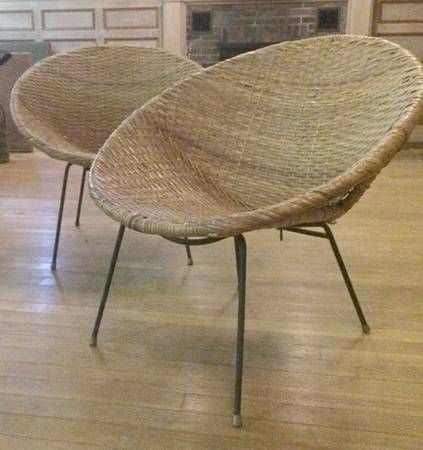 2 1960 S Round Wicker Chairs 100 Round Wicker Chair Chair Wicker Chairs