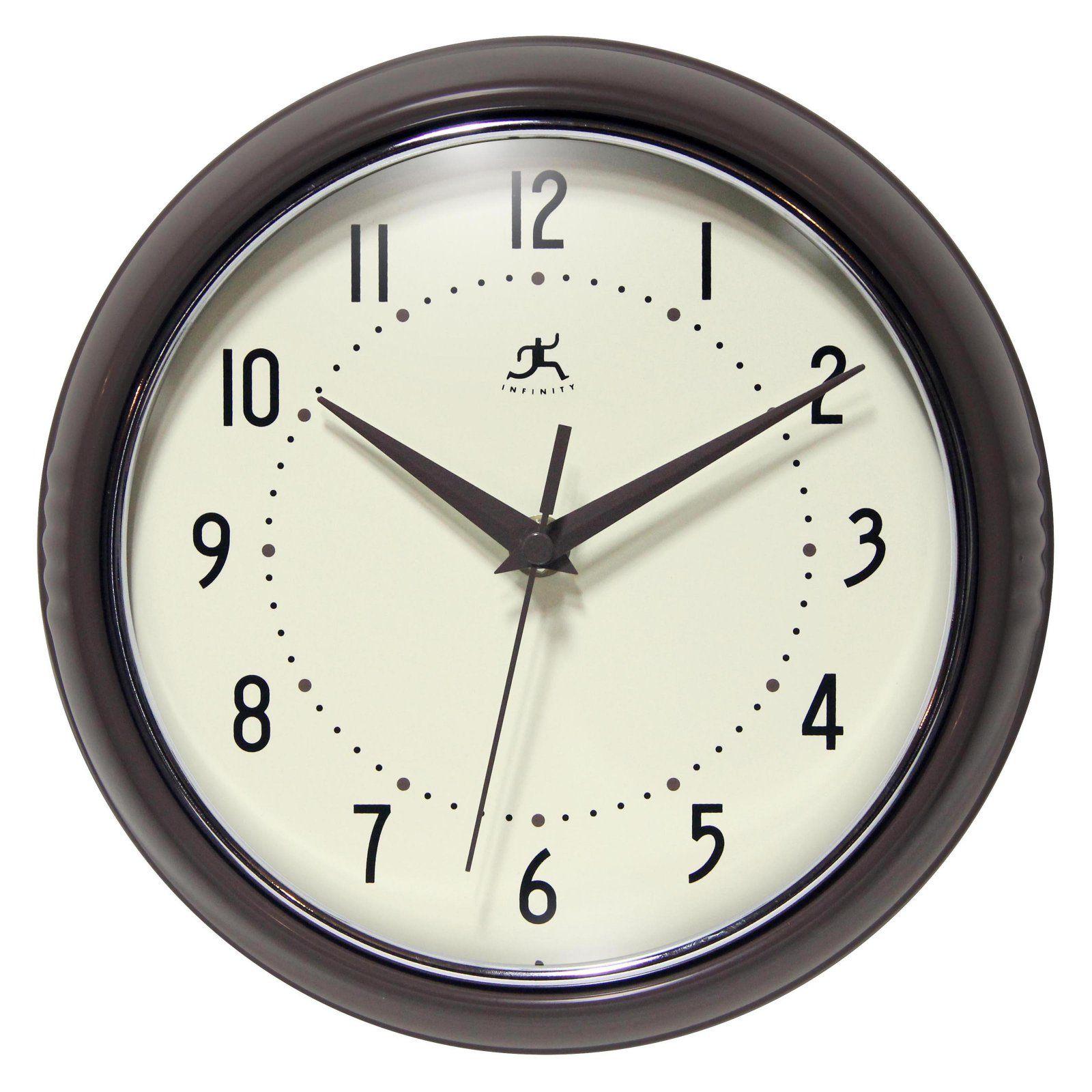 Infinity Instruments Retro Silver 9.5 Inch Wall Clock